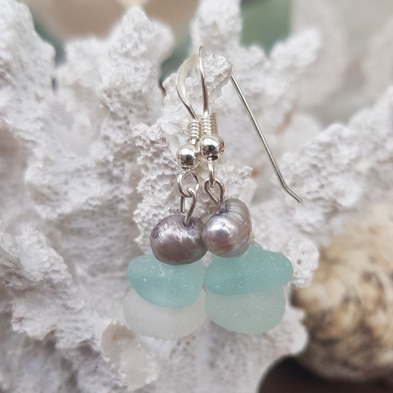 Aqua and White Sea Glass Drop Earrings topped with a beautiful Stormy Grey Pearl
