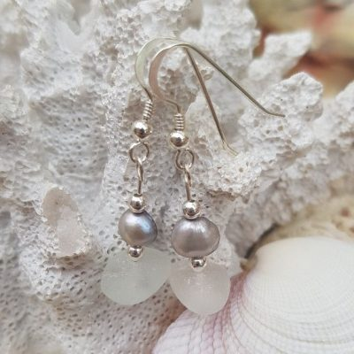 Simple but beautiful White Sea Glass and Pearl Drop Earrings.