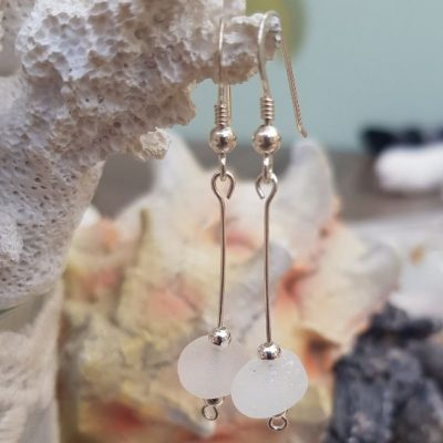 Sterling Silver and White simply beautiful drop earrings (Sterling Silver Fish Hook earrings and wire)