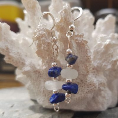 White-Sea-Glass-and-Lapis-Lazuli-drop-earrings.