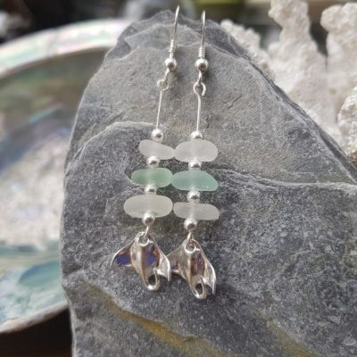 White and Sea Foam Sea Glass drop earrings with Sterling Silver Rays